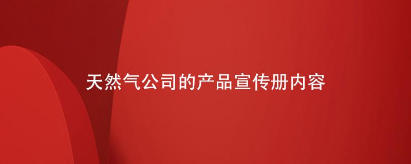 天然气公司的产品宣传册内容